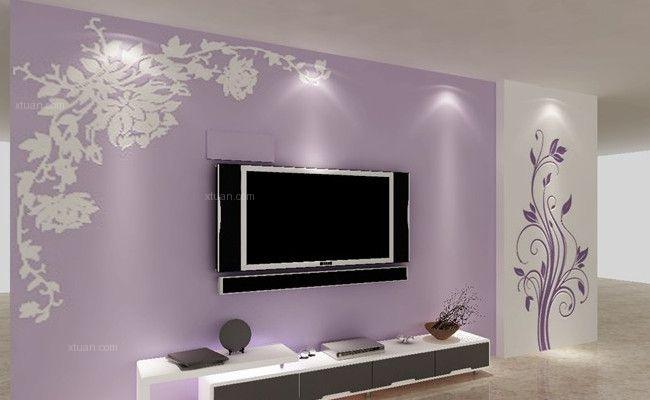 矽藻泥電視背景牆紫色效果圖